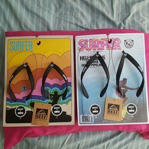 NWT REEF surfer magazine flip flops